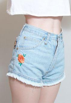 Vintage+1990's+Iber+Embroidered+Blue+Denim+Shorts