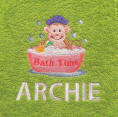 This listing is for a customised bath towel with a cute bathroom animal along with a name.  This is a great gift for birthdays, christmas or any