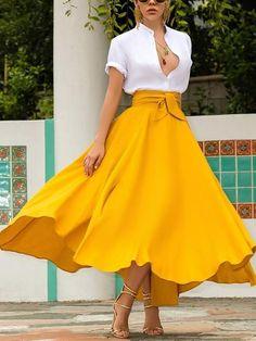 Available Sizes :S;XL Length(cm) Waist(cm) Hip(cm) Type :Slim Material :Dacron Length Style :Below Knee Decoration :Belt, Irregular, Pockets Color :Yellow Neon Yellow Irregular Pockets Belt Lace-up High Waisted Flowy Cute Maxi Skirt最先出现在。 Yellow Skirt Outfits, A Line Skirt Outfits, Yellow Maxi Skirts, Cute Maxi Skirts, Yellow Clothes, Long Flowy Skirts, Orange Skirt, Maxi Skirt Style, A Line Skirts