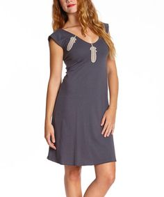 Look what I found on #zulily! Midnight Feather V-Neck Organic Dress - Women by Synergy Organic Clothing #zulilyfinds