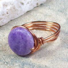 Passionate Ring  amethyst stone  wire wrapped  by MySoulCanDance