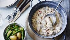 A simple chicken dish given a boost of flavour from smoked bacon and white wine.
