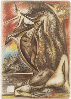 """Untitled - 1938-41 - Colored pencils and graphite on paper - H14-1/4""""XW10"""" - Metropolitan Museum or Art - Copyright ARS"""