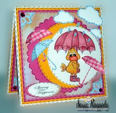 Dilly duck in the rain and spring sentiment from www.digitaldelightsbyloubyloo.com. Card created by Joann Burton