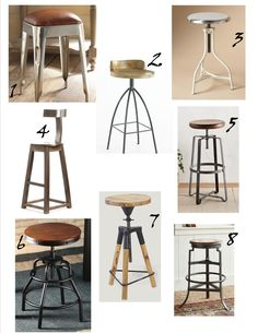 Industrial Stools buying guide! - Jayme Designs Vintage Bar Stools, Industrial Bar Stools, Metal Bar Stools, Industrial Furniture, Vintage Industrial, Iron Furniture, Kids Furniture, Furniture Decor, Cheap Furniture Stores