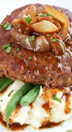 Beef Recipes Hamburger Steak with Onion Gravy Sirloin Recipes, Best Beef Recipes, Beef Recipes For Dinner, Ground Beef Recipes, Steak Recipes, Favorite Recipes, Healthy Recipes, Kabob Recipes, Fondue Recipes