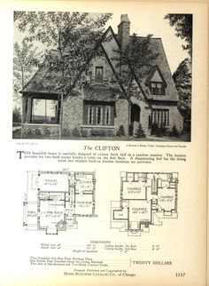 The CLIFTON   Home Builders Catalog: Plans Of All Types Of Small Homes By  Home