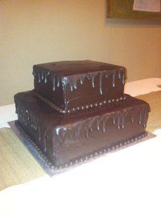 Wedding Cakes - add purple ribbon and sunflowers