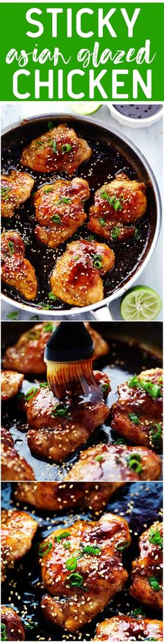 Sticky Asian Glazed Chicken - Tender and juicy chicken breasts that get coated in a sticky sweet asian sauce. This meal is ready in just thirty minutes and the flavor is awesome!