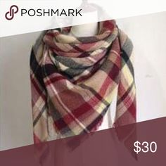 🆕Listing! Warm & Cozy Plaid Blanket Scarf Brand new in package! Super warm and cozy and extra big! Can be worn multiple ways... as an oversized scarf, a poncho wrap w/belt, blanket wrap, etc. 3 other colors available in closet. Price firm unless bundled. ❌NO TRADES ❌NO LOWBALLING❌ Boutique Accessories Scarves & Wraps