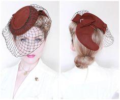 1940s Hat / VINTAGE / 40s Hat / Tilt Hat / Cocoa by HighHatCouture