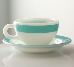 turquoise cups and saucers