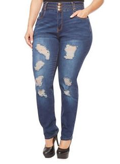 Plus Size Distressed Skinny Jeans with High Waist - 1870061655087