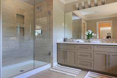 Fiberglass shower bottom w built in storage Fiberglass Shower, Double Vanity, Double Sinks, Built In Storage, Model Homes, Master Bathroom, Sweet Home, New Homes, Bathroom Remodeling