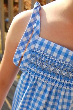 Smocked Sundress in Gingham - has diagrams for the different smocking stitches used.