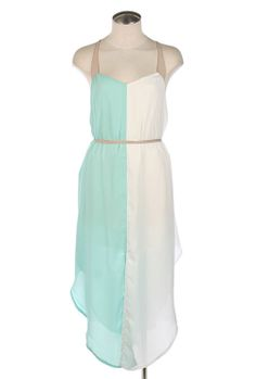 Better Half Strappy Vertical Colorblock Dress in Mint/White
