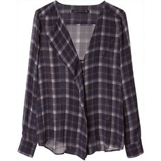 Zara Checked Shirt (330 UAH) ❤ liked on Polyvore featuring tops, blouses, shirts, flannels, navy blue, navy blue blouse, purple checked shirt, navy shirt, purple blouse and zara shirt