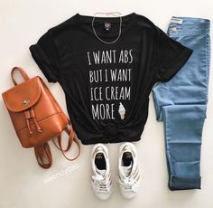 boyfriend tee graphic tees ice cream workout black casual adidas sporty light wash jeans mini backpack fashion clothes fashion clothing cute girl girly ...