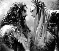 Thorin and Thranduil by evankart.deviantart.com on @deviantART