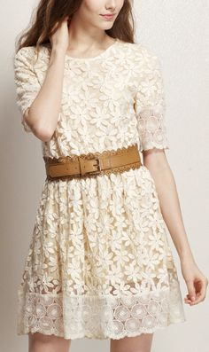 Belted lace dress
