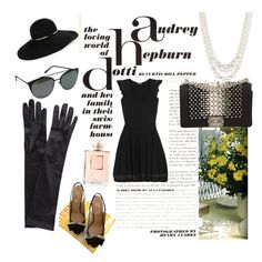 """Audrey Hepburn - Inspired Wardrobe"" by juliez-riken ❤ liked on Polyvore featuring Valentino, John Lewis, Eugenia Kim, Quay, Anne Klein and Chanel"