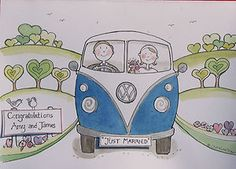 Hand-made VW Campervan Wedding Card #kombilove #kombiweddings