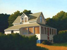 Jim Holland - Present), American Artist - Wraparound Porch - 30 x 40 Fantasy Landscape, Landscape Art, Landscape Paintings, House Paintings, Urban Landscape, Landscapes, Edward Hopper, Jack Vettriano, Perspective Drawing