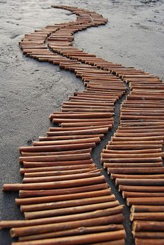 Andy Goldsworthy - Stick-path. I watched a video on his work in Art History many years ago. Temporary Art = awesome!