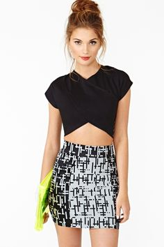 Cross Over Crop Top, super cute with high waisted anything and a jacket