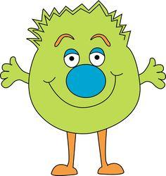 free cute monster clip art | Funny Green Monster Clip Art Image - bright green monster with a fuzzy ...