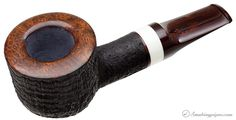 Tokutomi Pipe Co. Sandblasted Pot with Mastodon Ivory (Yuki) Pipes at Smoking Pipes .com
