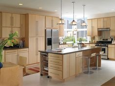Maple Slab Front Kitchen Cabinets Kitchen Ideas