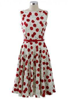 Miss Cheery Pie.Midi Dress. #cherry #red