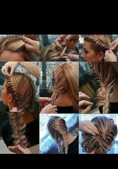 lovely fishtail braid updo, I love this! Think I have decided on this for my hairstyle! Fishtail Updo, Braided Updo, Braided Hairstyles, French Fishtail, Braid Hair, French Braids, Bun Updo, Prom Hairstyles, Greek Hairstyles