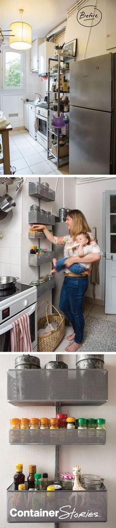 An organized place in Paris: Organized kitchen, everything by elfa  Tasty meals await in this Parisian home - organized by elfa and The Container Store.