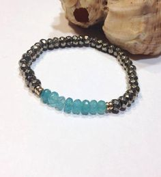 Pyrite and Aquamarine Bracelet-Pyrite Energie by JewelzonJewelz