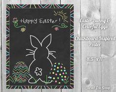 easter chalkboard designs   Easter Bunny Chalkboard Eggs Poster