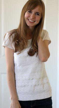 white shirt--lace revamp! What an awesome idea from a friend over @ Everyday Reading!