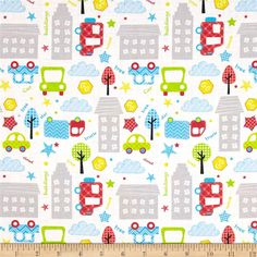 Child's Play Buildings & Cars Multi from @fabricdotcom  This cotton print fabric is perfect for quilting, apparel and home decor accents. Colors include grey, blue, red, yellow, green and white.