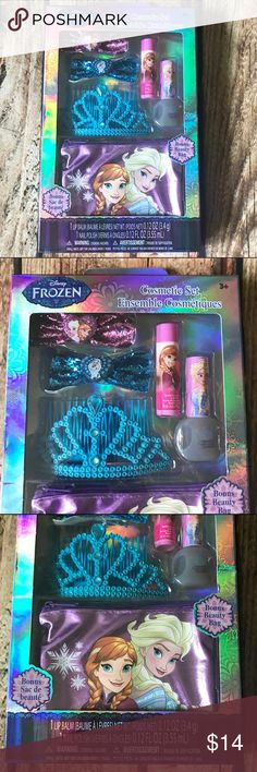 Disney Frozen Hair & Cosmetic Set NWOT 🎁Disney Frozen Hair Accessory and Cosmetic Set 🎁🎁 🎄🎄Christmas in July🎄🎄NWOT and includes 1 bubble gum flavored lip balm, 2 bow shaped hair clips (1 pink & 1 blue) 1 child's nail polish, blue tiara with comb and a bonus beauty bag featuring Anna & Elsa. Smoke free home. Disney Accessories Hair Accessories