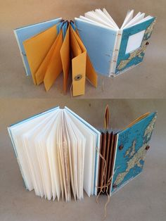 Useful Books Handmade Journals and Blank Books: Travel JournalsDOS-A-DOS BINDING (2facher Leporello als Minialbum, Cover mit aler Karte)
