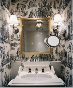Bathroom from a Hotel in Paris...black & white toile wallpaper, powder room, french