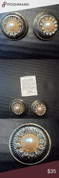 """Large Button Earrings Angels of Love Rhinestones Pair of pierced Bling earrings """"Alpha"""" in mixed gold & silver tones  By Angels of Love (AOL) These have LOTS of great sparkle; difficult to capture in pics  Button style w/faux pearl @ center Cubic Zirconia stones around faux pearl center Approx. 1.5"""" in diameter Comes w/care instructions  Designed by Not so Plain Jane, of Kingwood TX Pre-owned no longer produced, to my knowledge.   From smoke free home Angels of Love Jewelry Earrings"""