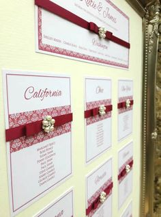vintage-burgundy-red-pearl-damask-wedding-stationery-table-plan by www.els-design.com