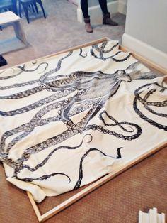 DIY ART | octopus shower curtain hung tight on frame  6th Street Design School | Kirsten Krason Interiors : DIY Octopus Art