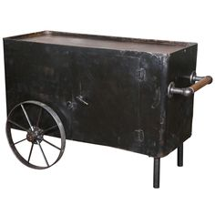 Vintage Industrial, Two Wheeled Cart, Original & Made in USA | From a unique collection of antique and modern bar carts at http://www.1stdibs.com/furniture/tables/bar-carts/