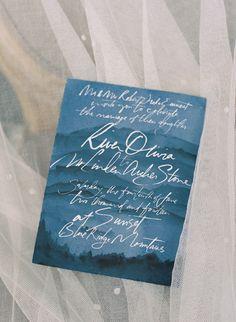Cobalt Blue Watercolor Invitation | Elisa Bricker Photography | Asheville Destination Wedding Inspiration in the Blue Ridge Mountains
