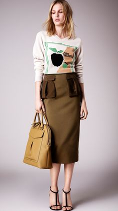 Cotton Twill Pencil Skirt with Nubuck Pockets   Burberry