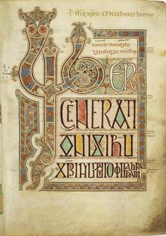 The Lindisfarne Gospels, an illuminated Latin manuscript of the gospels of Matthew, Mark, Luke and John in the British Library. The manuscript was produced on Lindisfarne in Northumbria in the late 7th century or early 8th century.