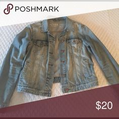 Gap denim jacket Gap denim jacket, size small. Faded denim color with a bit of a distressed look. GAP Jackets & Coats Jean Jackets